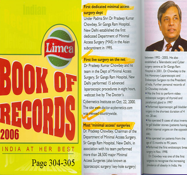 Dr. Pradeep Chowbey was awarded Limca Book of Records 2006 for most 'minimal access' surgeries. Over 28500 Minimal access Surgeries between 1992-2005.