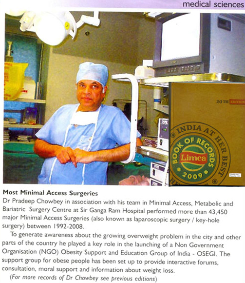 Dr. Pradeep Chowbey was awarded Limca Book of Records 2009 for most 'minimal access' surgeries. Over 43450 Minimal access Surgeries between 1992-2008.