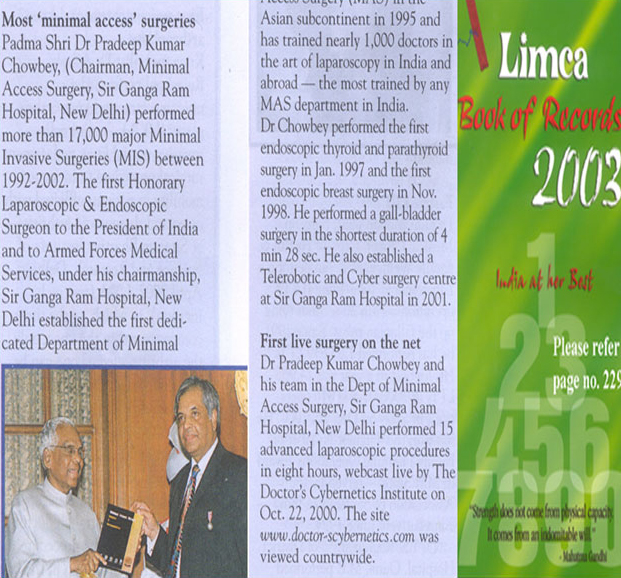 Dr. Pradeep Chowbey was awarded Limca Book of Records 2003 for most 'minimal access' surgeries. Over 17000 Minimal access Surgeries between 1992-2002.