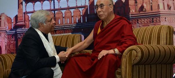 Dr. Pradeep Chowbey seeking blessings from Dalai Lama