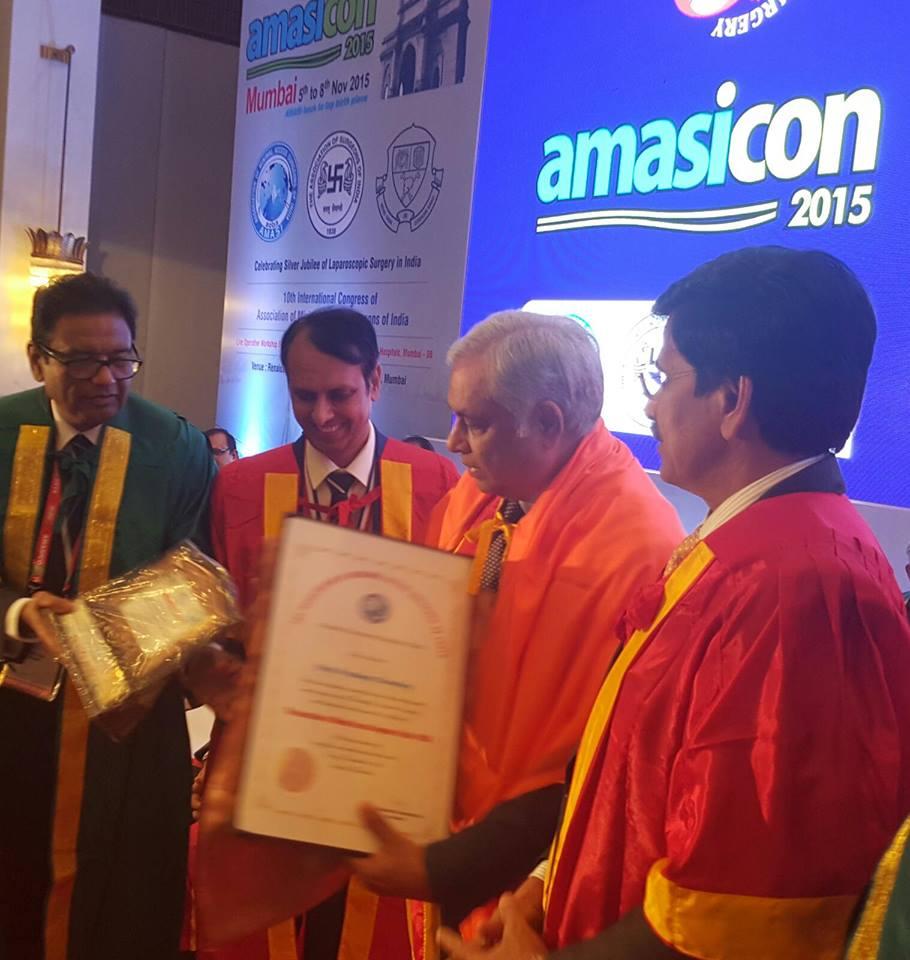Honorary Membership of Association of Minimal Access Surgeons of India at Amasicon 2015 Mumbai