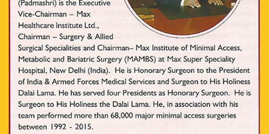 Dr Pradeep Chowbey and team featured consecutively from 2000-2016 in the Limca book of records_