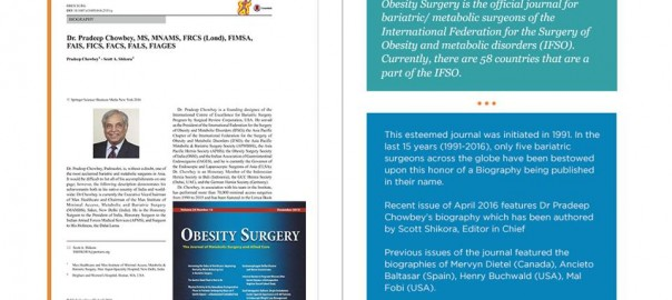 Dr Pradeep Chowbey's biography published in the Obesity journal (the official journal of IFSO)