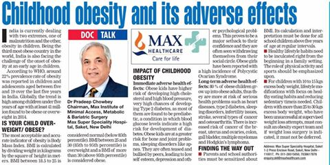 Dr Pradeep Chowbey's article on Childhood Obesity in Delhi Times